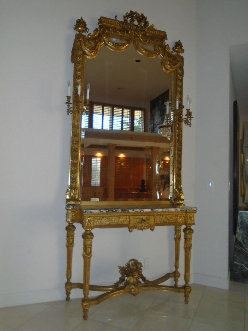 Grand entrance mirror & console with a marble top and
