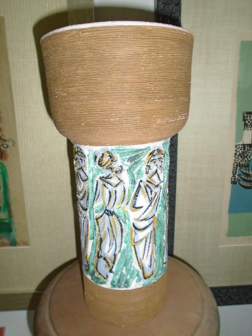 FRATELLI FANCIULLACCI ITALIAN POTTERY VASE. HAND CARVED