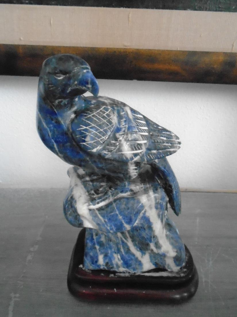 HAND CARVED FALCON SCULPTURE IN BLUE LAPIS
