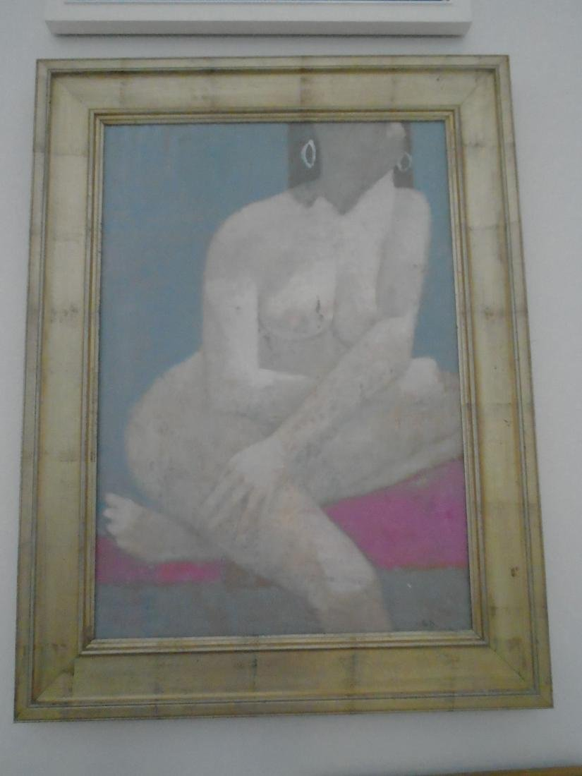 FRAMED ACRYLIC PAINTING OF NUDE WOMAN BY GREG DECKER.
