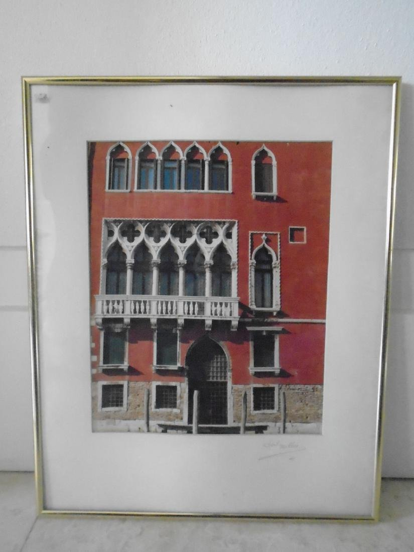 FRAMED PHOTO 'RED PLAZA VENICE' BY HAL MILLER