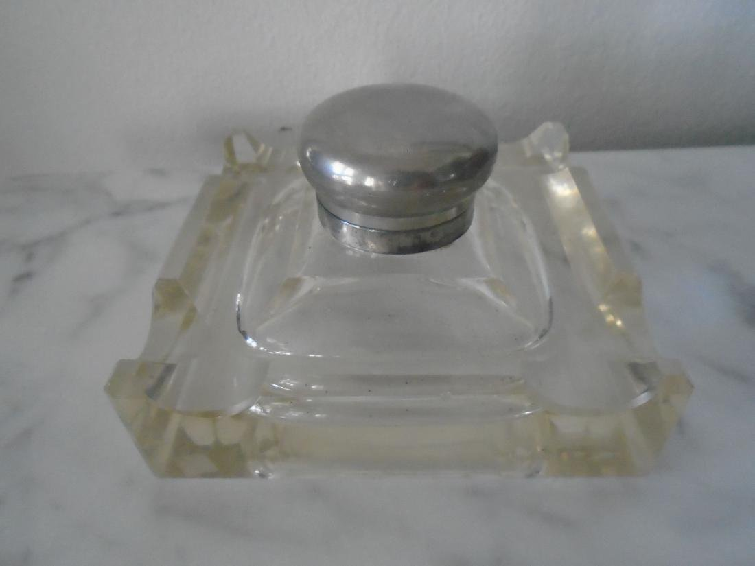 GLASS INKWELL WITH PEN RESTS