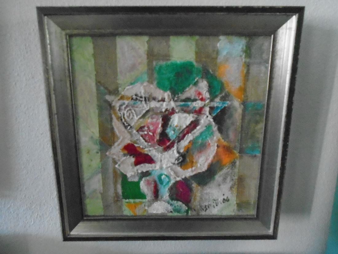 FRAMED 'A DRINK TO A ROSE' OIL PAINTING BY FANNIE