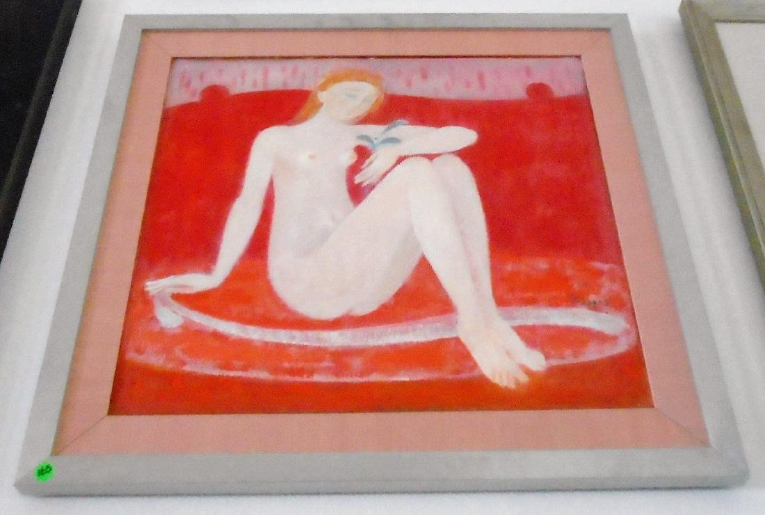 FRAMED ACRYLIC OF NUDE WOMAN