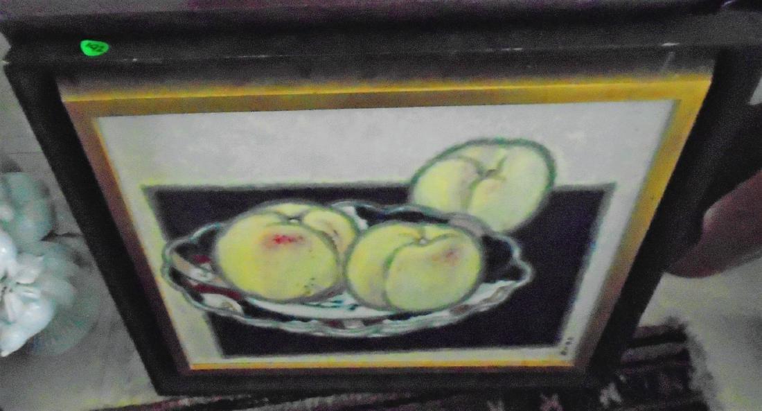 FRAMED ACRYLIC PAINTING OF FRUIT ON IMARI DISH