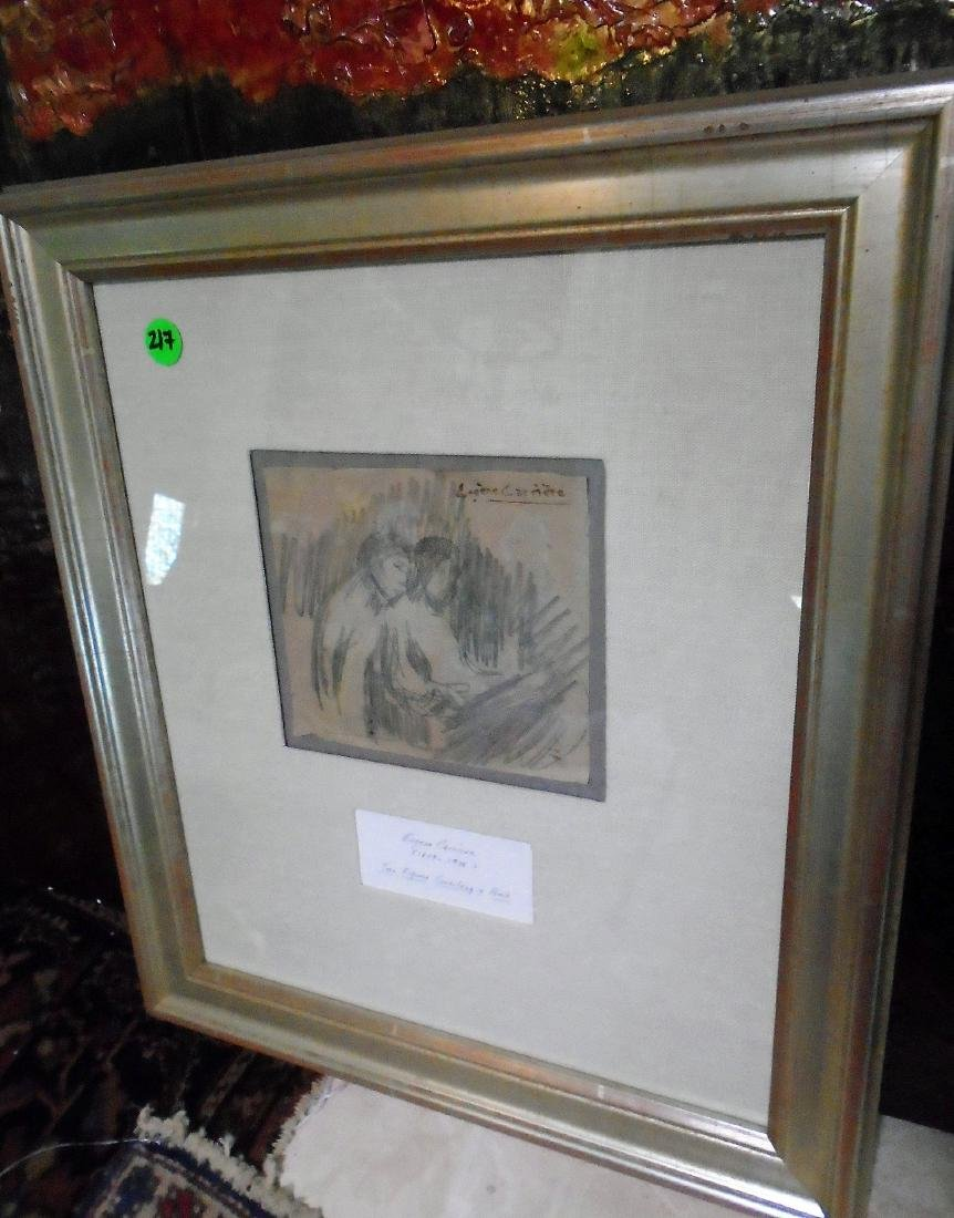 FRAMED PENCIL SKETCH BY EUGENE CARRIERE