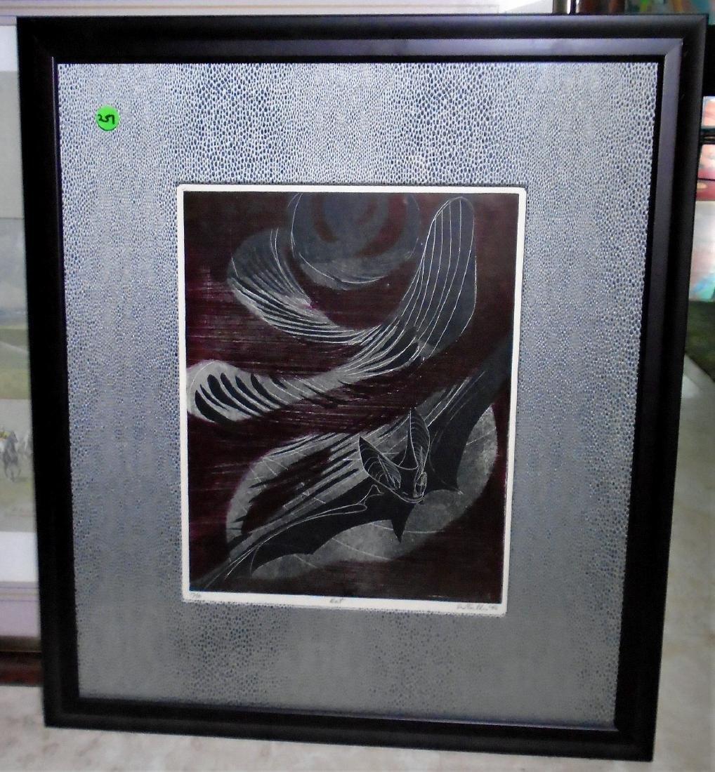 LTD ED LITHOGRAPH 'BAT' BY SUE FULLER