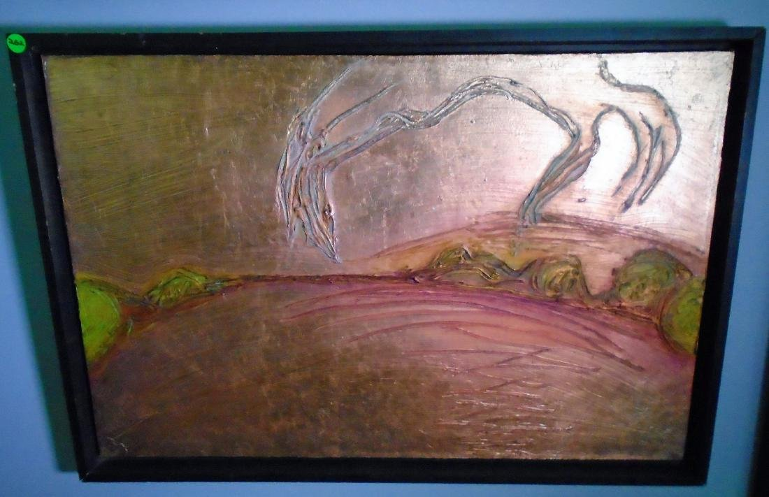 FRAMED SOLID COPPER LEAF WALL ART BY CAROLINE RUSSELL