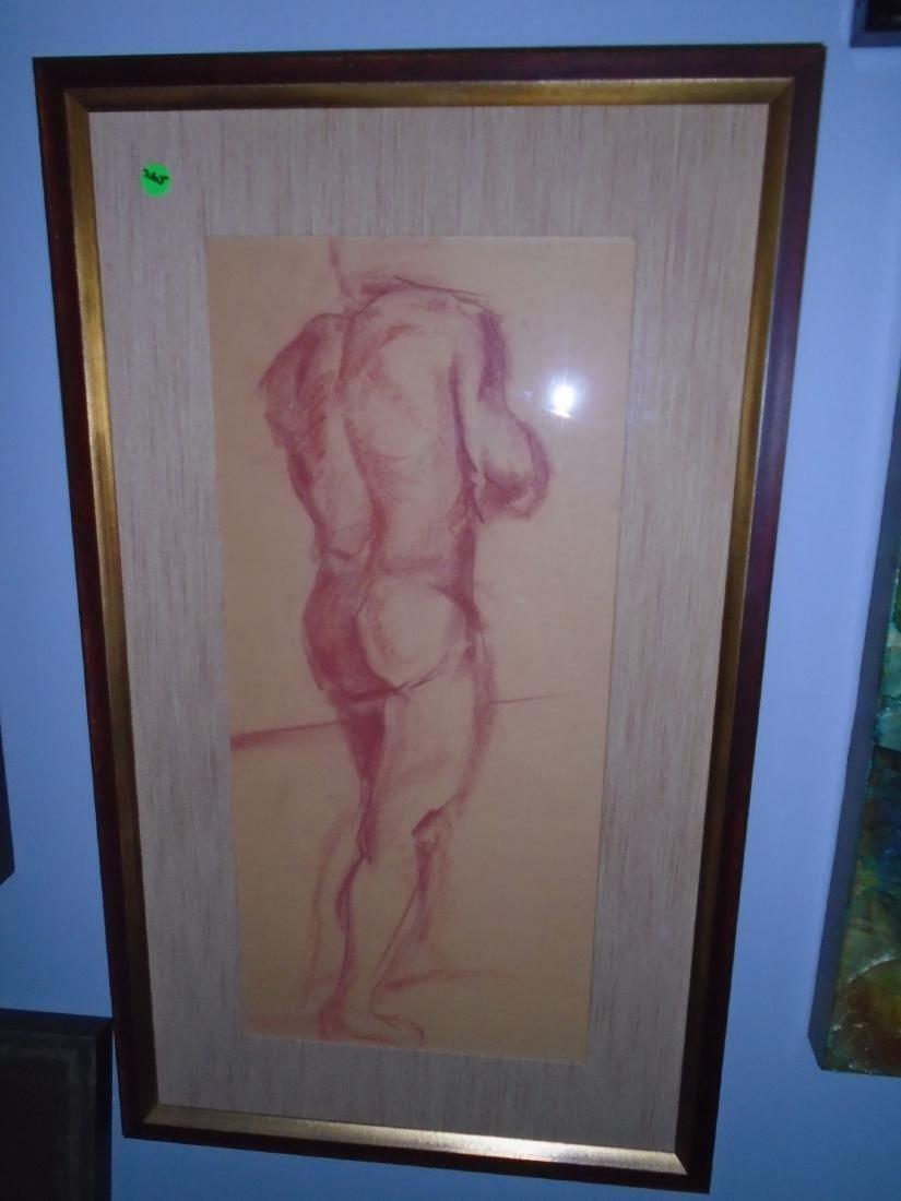 Framed sketch of a nude man.