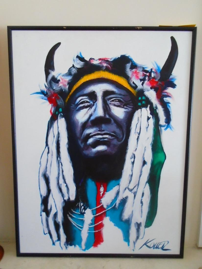 Two Moon Cheyenne Acrylic on canvas signed by artist