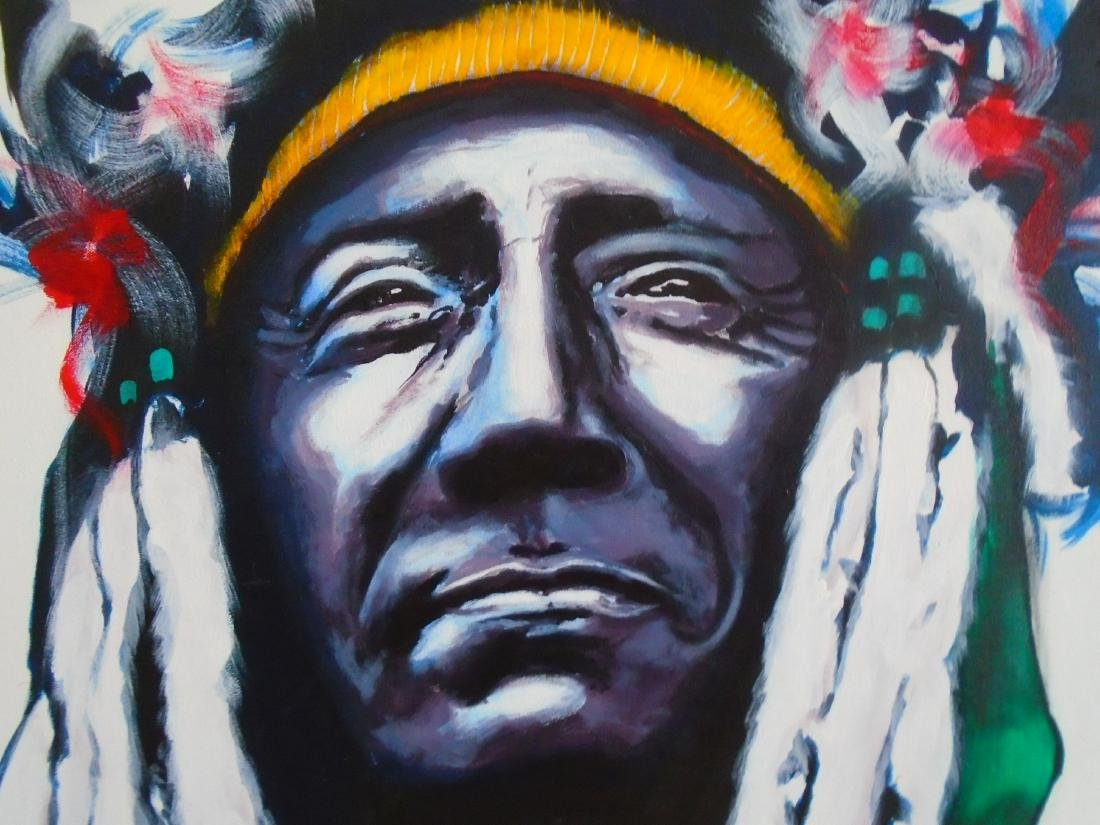 Two Moon Cheyenne Acrylic on canvas signed by artist - 2