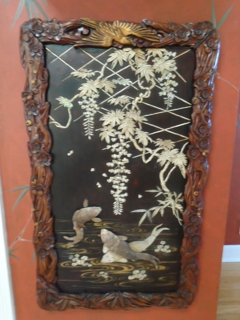 Asian Screens with carved bone & mother of pearl, early