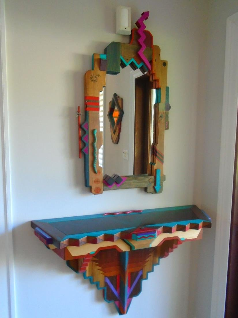 2 pc Mirror & Wall hung Console.
