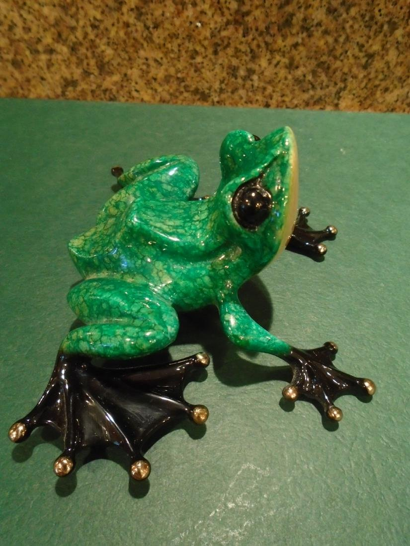 Little Wally Green and black frog Bronze Sculpture - 3