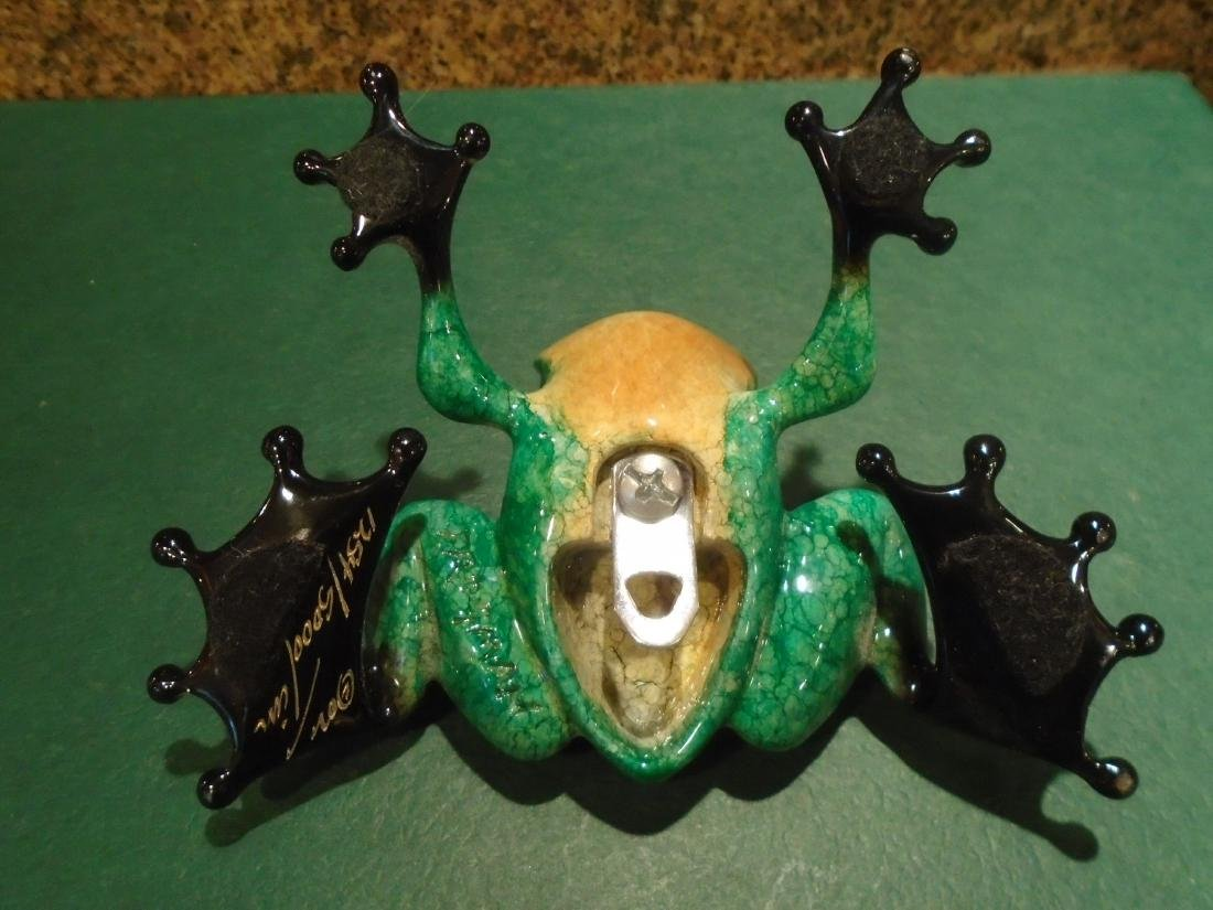 Little Wally Green and black frog Bronze Sculpture - 5
