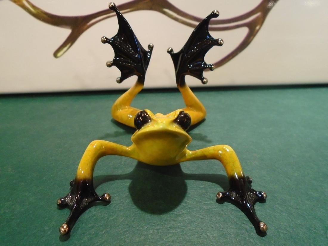 Sunbather Yellow and black frog Bronze Sculpture - 2