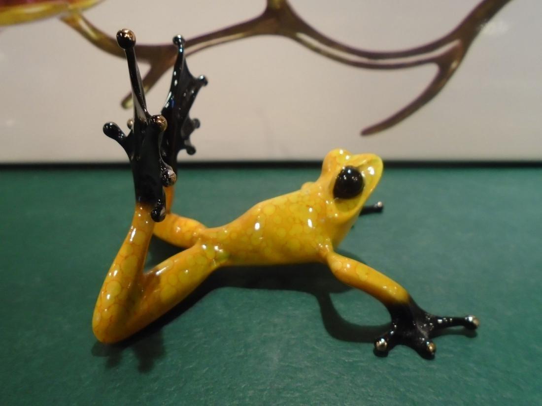 Sunbather Yellow and black frog Bronze Sculpture - 3