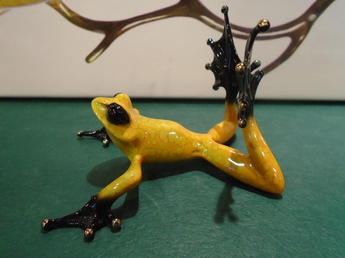 Sunbather Yellow and black frog Bronze Sculpture - 5