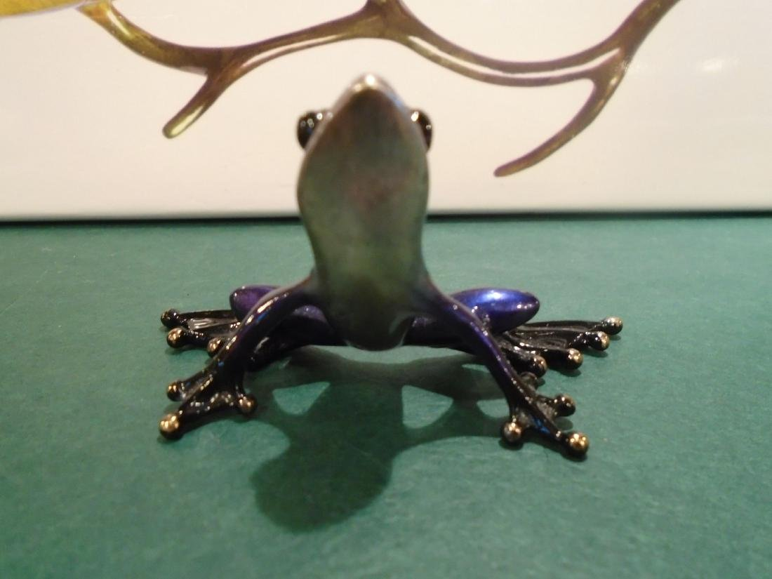 Sunset Dark purple metallic frog Bronze Sculpture - 3