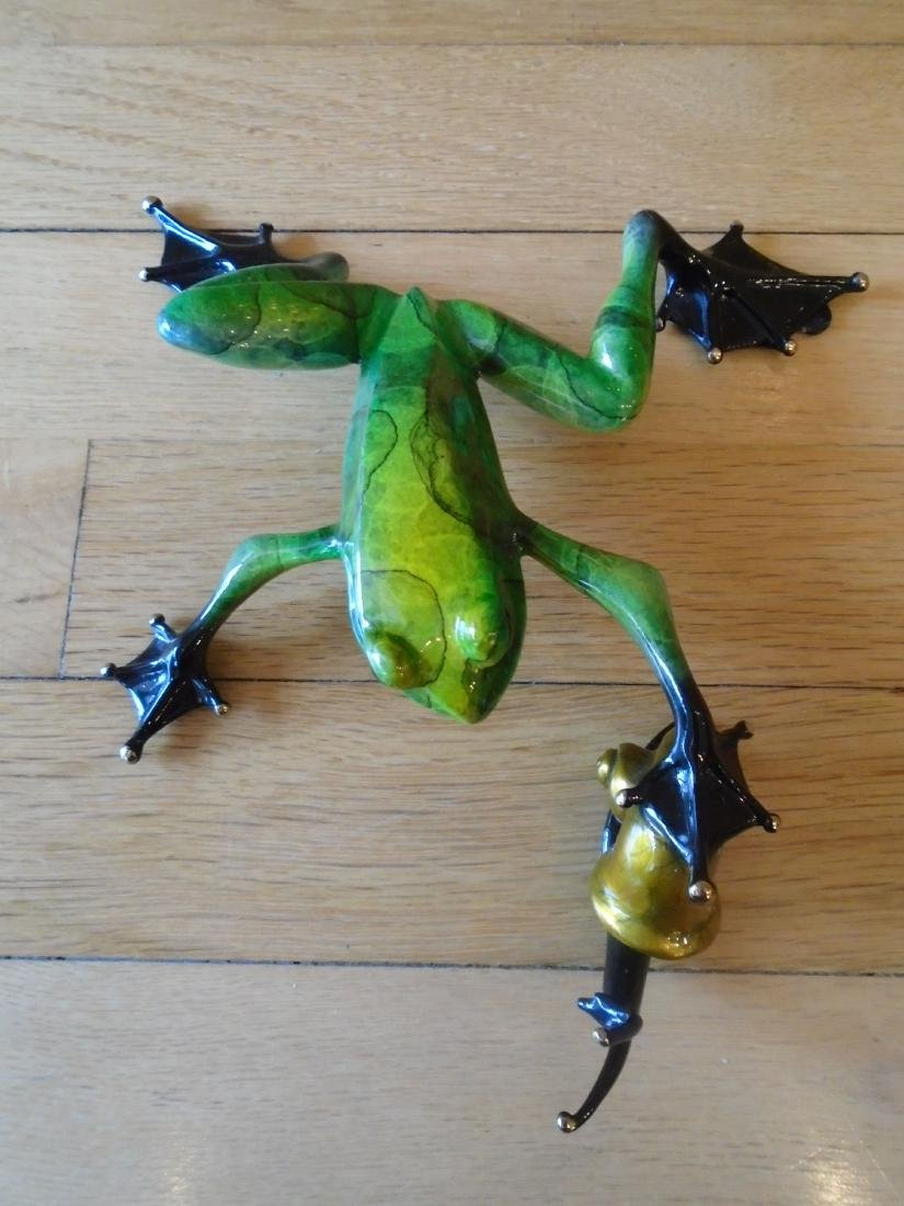 Pond Pal Green and black marbled frog with snail Bronze - 2