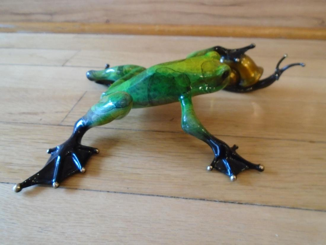 Pond Pal Green and black marbled frog with snail Bronze - 4