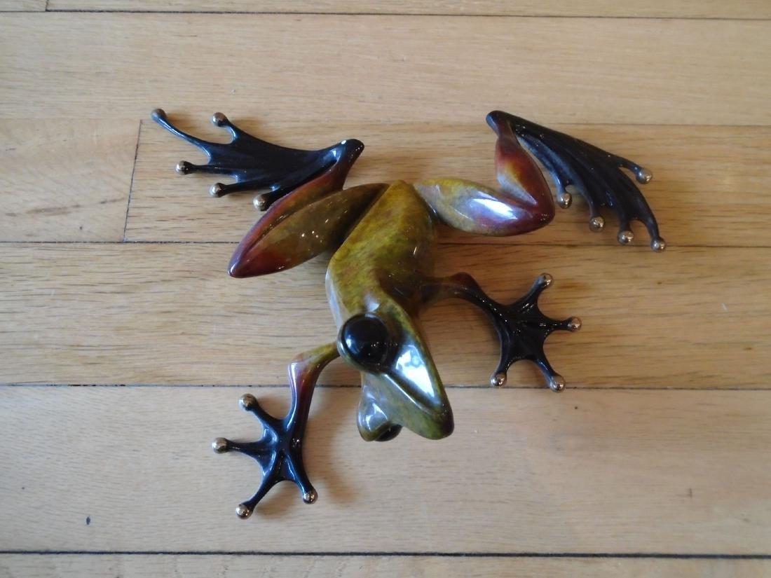 The Twist Brown, rust & black frog Bronze Sculpture