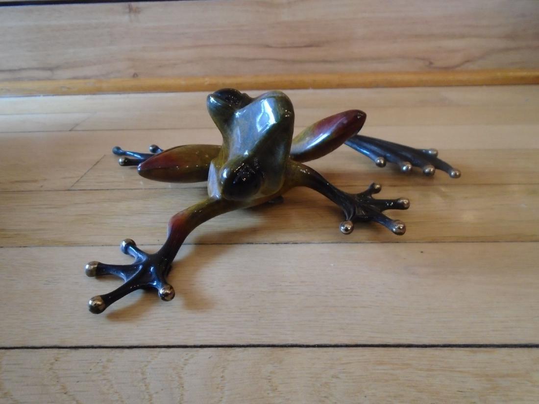 The Twist Brown, rust & black frog Bronze Sculpture - 2