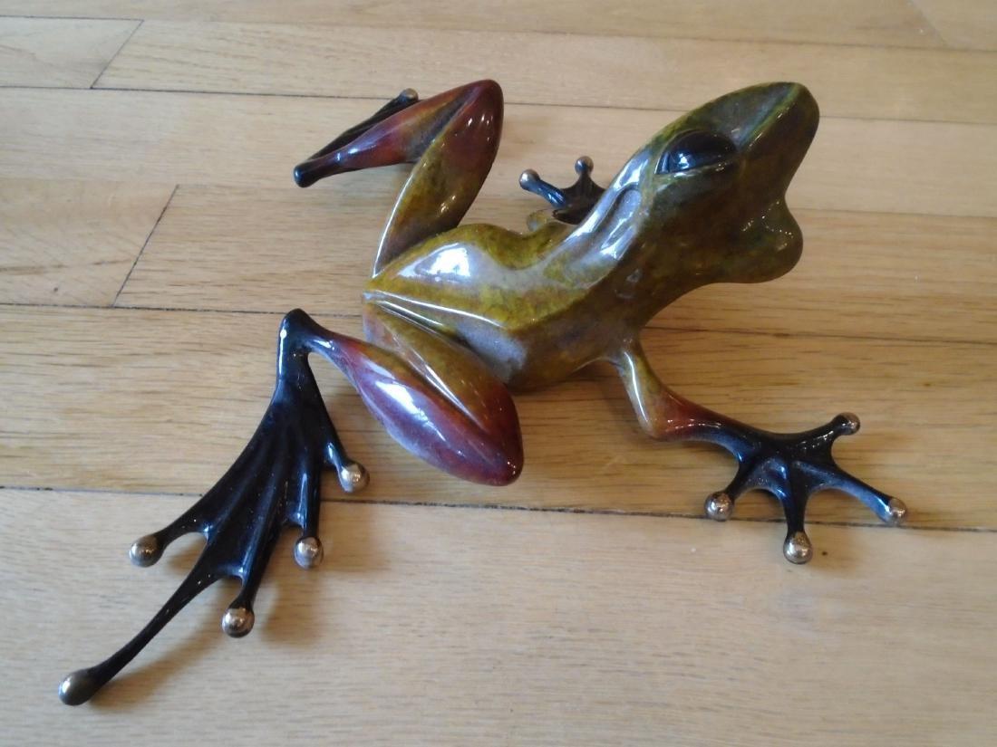 The Twist Brown, rust & black frog Bronze Sculpture - 3