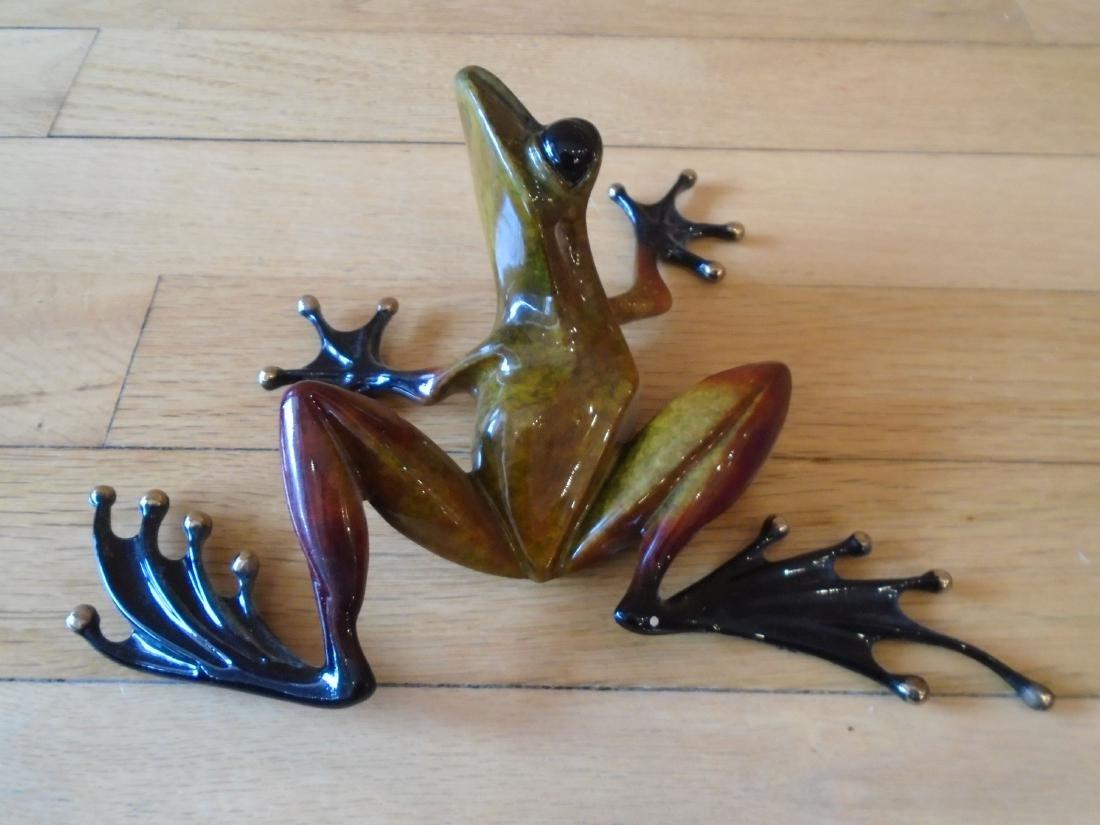 The Twist Brown, rust & black frog Bronze Sculpture - 4