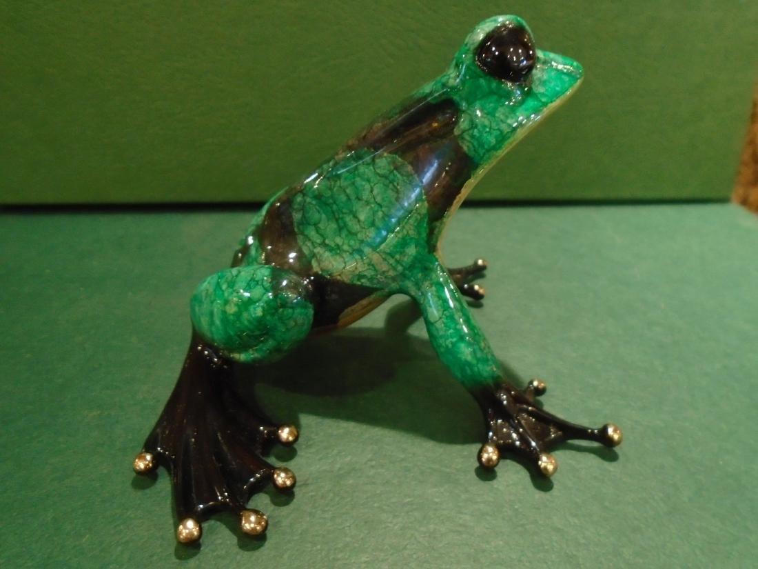 Albert  Green and black spotted frog Bronze Sculpture