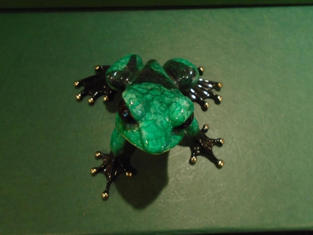 Albert  Green and black spotted frog Bronze Sculpture - 2