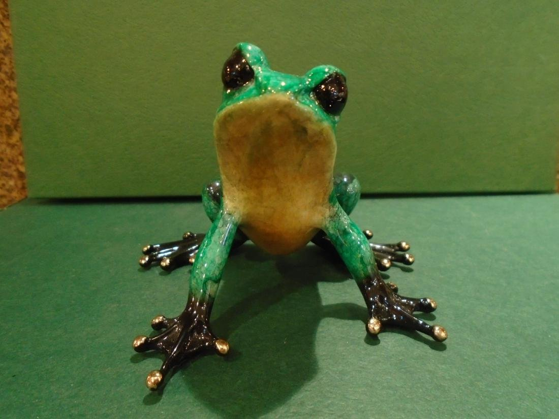Albert  Green and black spotted frog Bronze Sculpture - 3