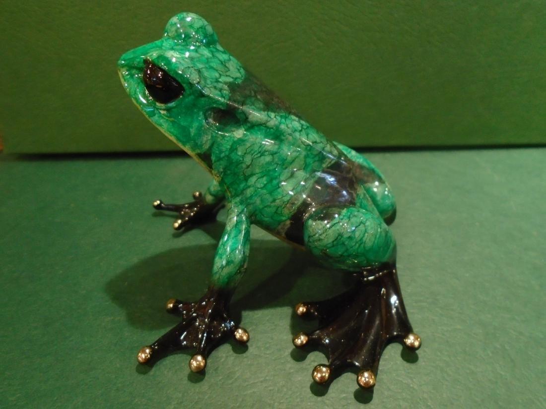 Albert  Green and black spotted frog Bronze Sculpture - 5
