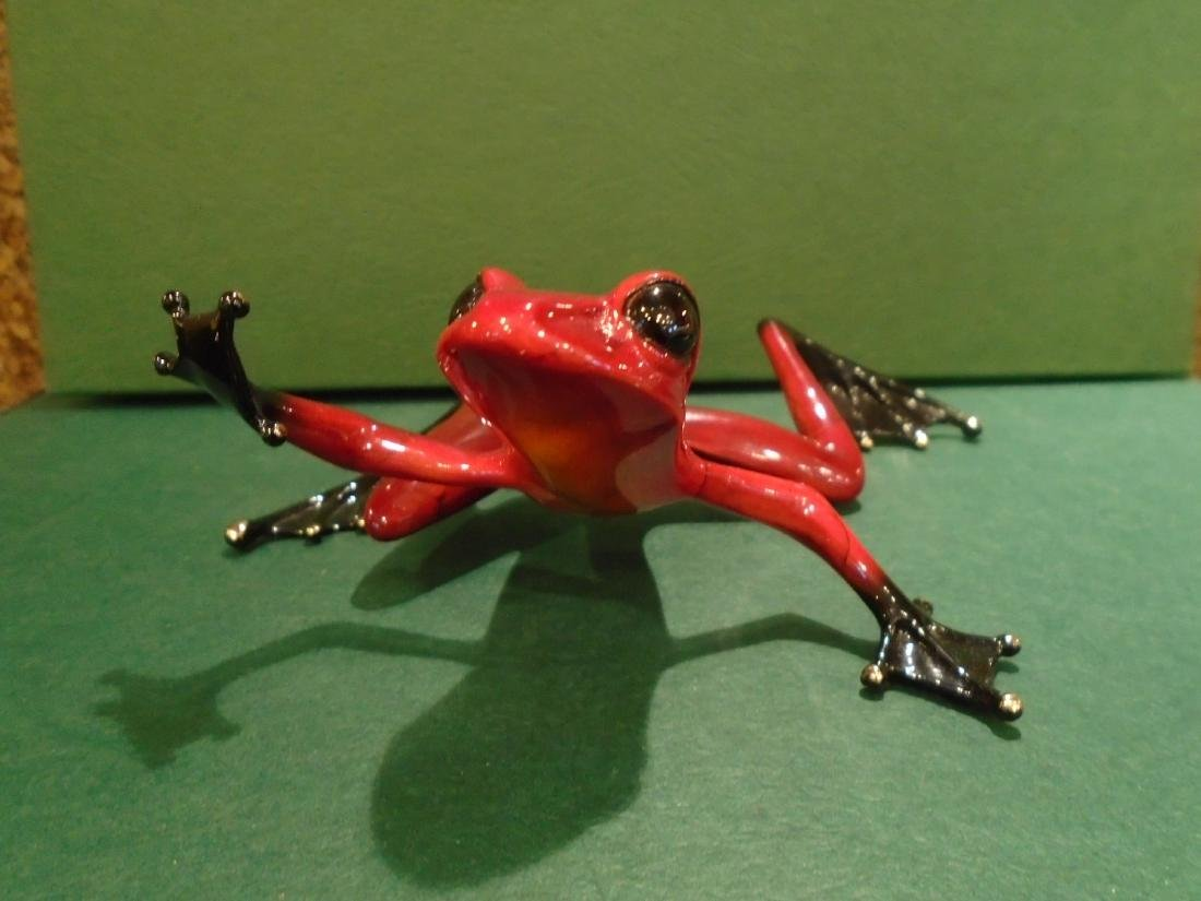 Romeo Red and black frog Bronze Sculpture - 2