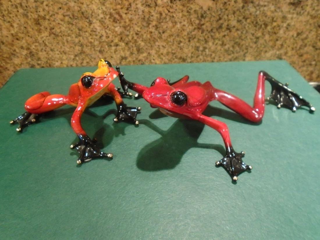 Romeo Red and black frog Bronze Sculpture - 8