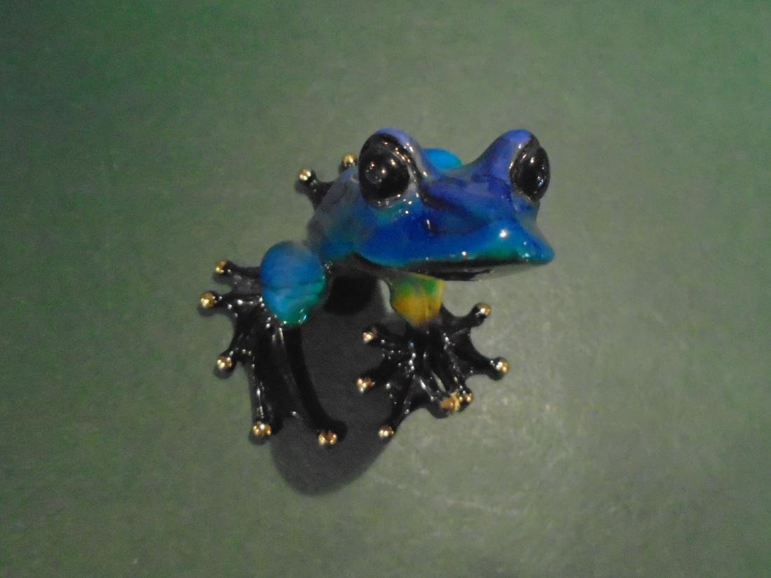 Bashful-Blue Blue, green & black frog Bronze Sculpture - 2