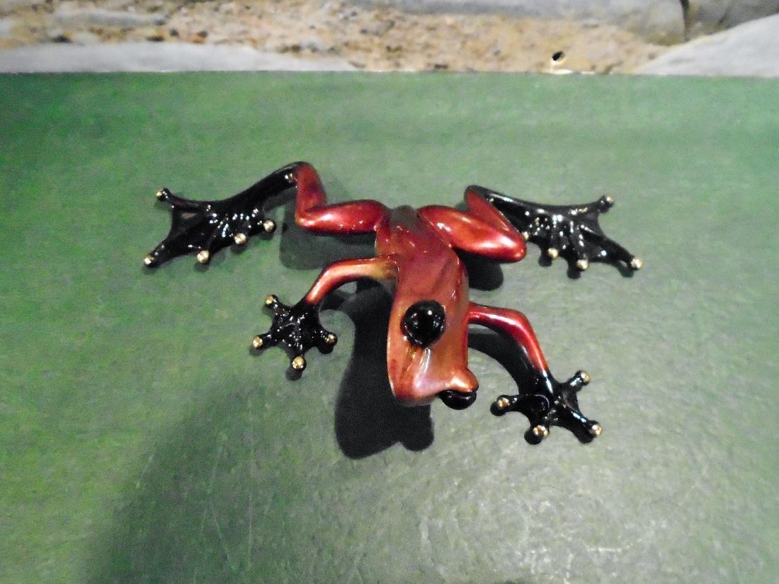Scooter Pink, purple & black frog Bronze Sculpture