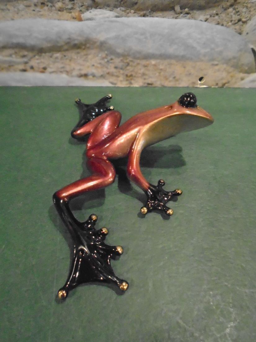 Scooter Pink, purple & black frog Bronze Sculpture - 2