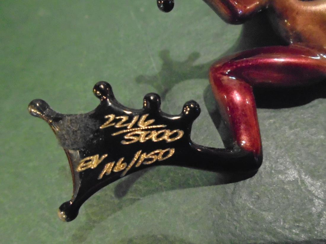 Scooter Pink, purple & black frog Bronze Sculpture - 6