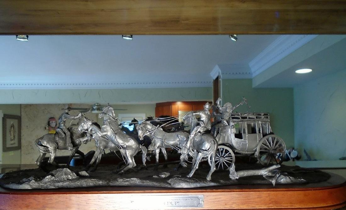 Hold Up Stagecoach with horses and figures Bronze