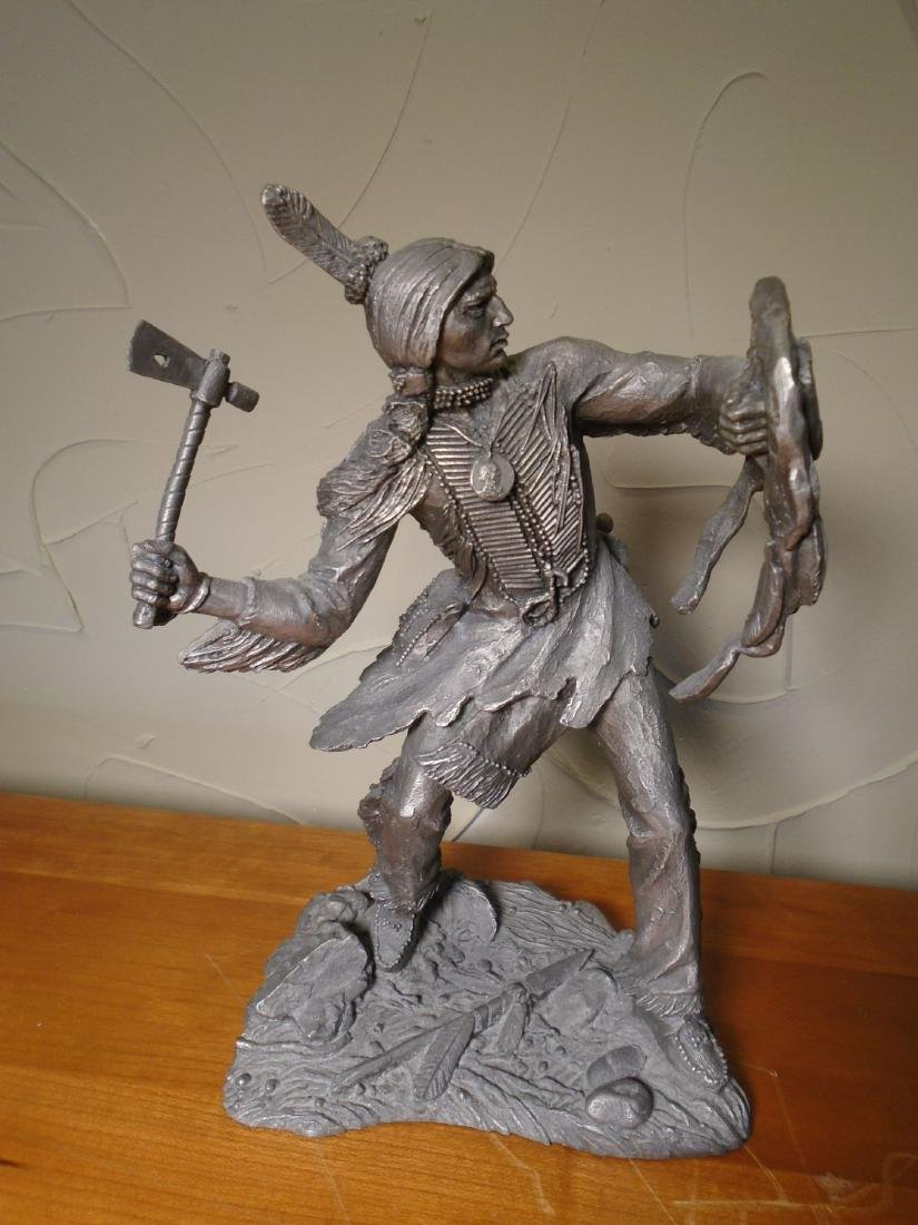 Comanche Warrior Indian holding a shield and ax Pewter