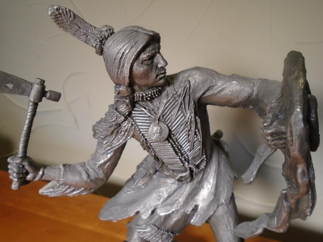 Comanche Warrior Indian holding a shield and ax Pewter - 2