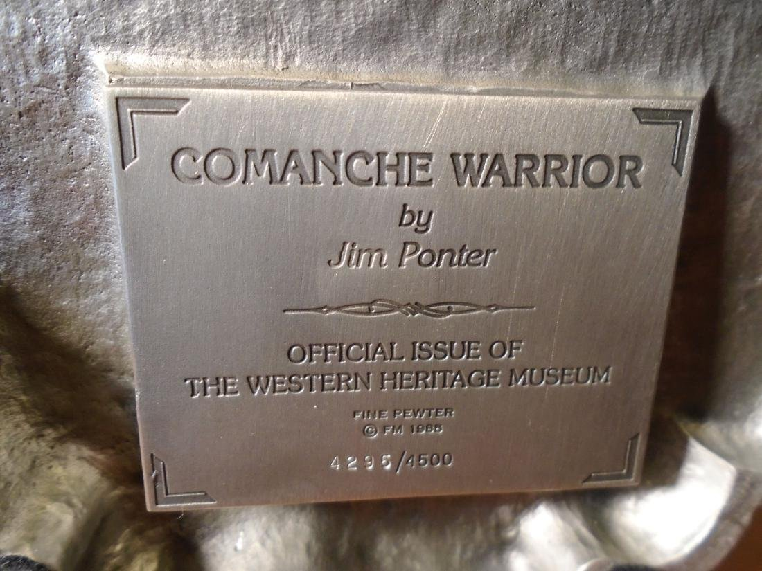 Comanche Warrior Indian holding a shield and ax Pewter - 7