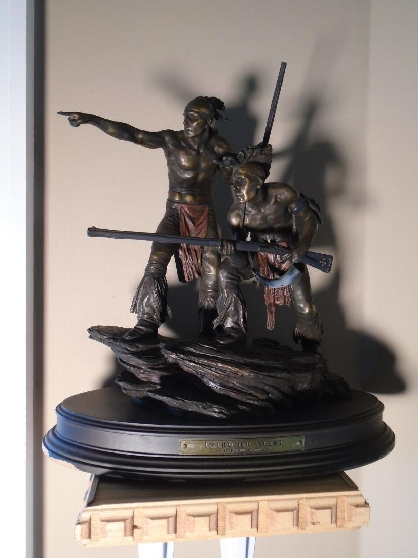 Two Indians holding rifles Bronze Sculpture