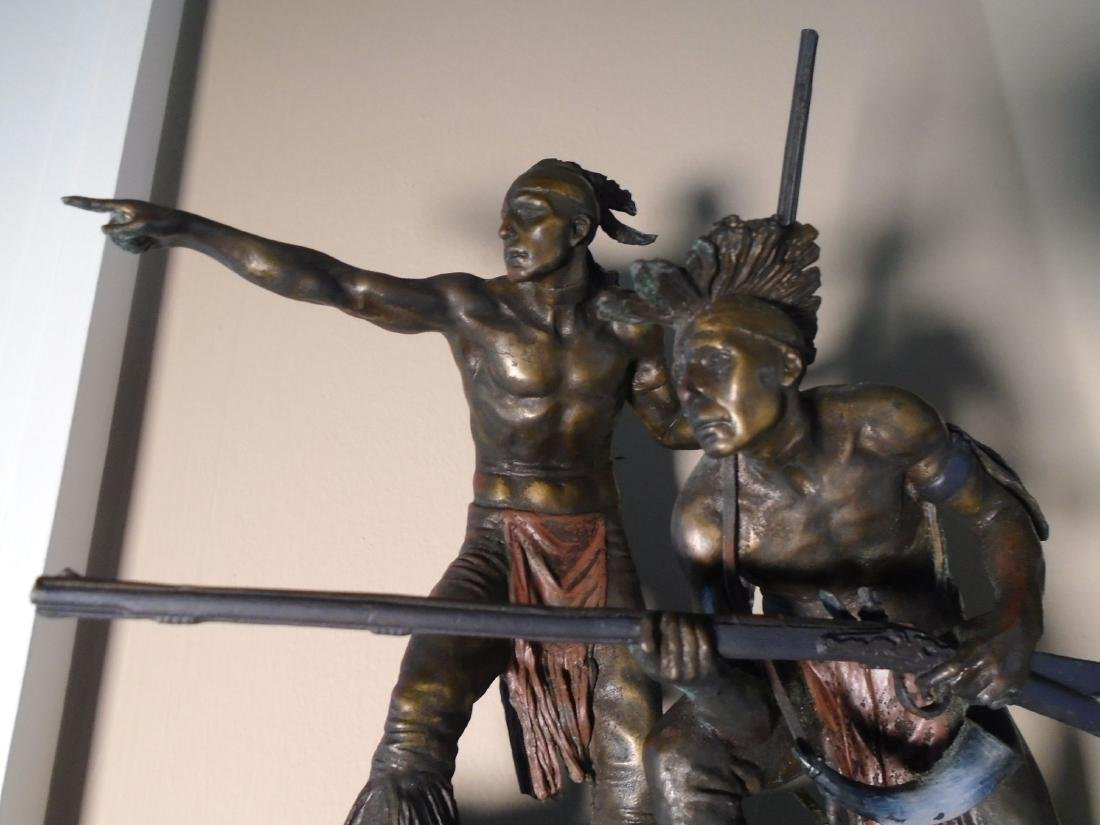 Two Indians holding rifles Bronze Sculpture - 3