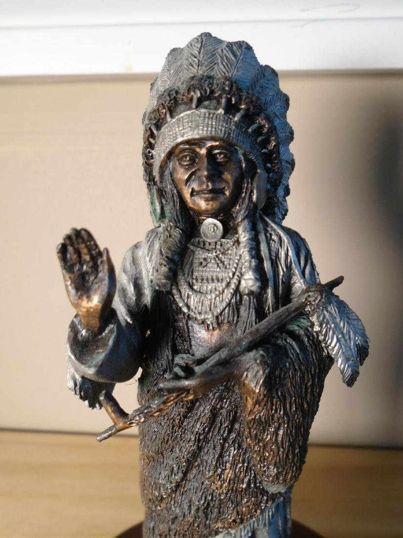 Sioux Chief Indian Chief  holding a peace pipe Bronze - 2