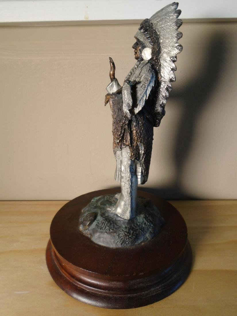 Sioux Chief Indian Chief  holding a peace pipe Bronze - 3