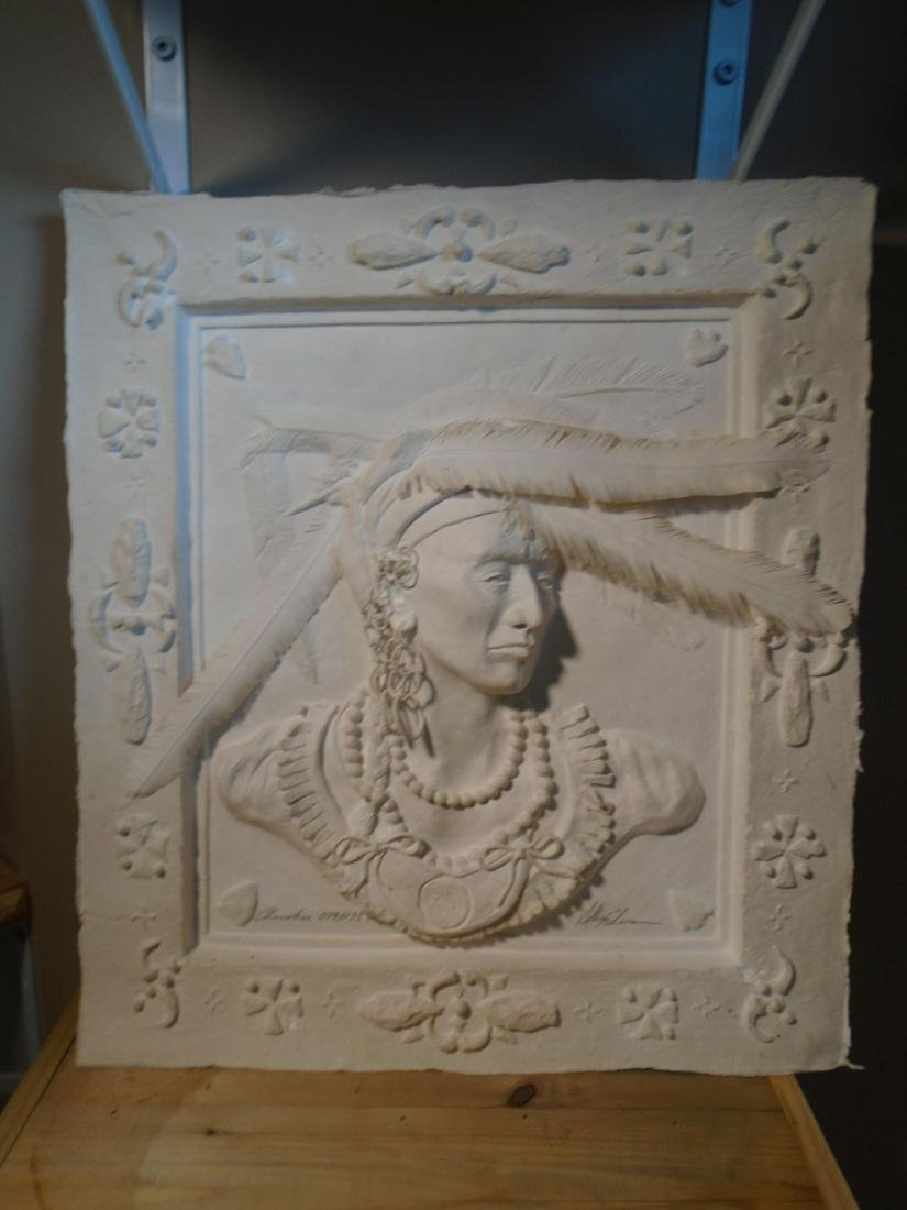 Cherokee Bust of a male Indian Molded paper wall relief