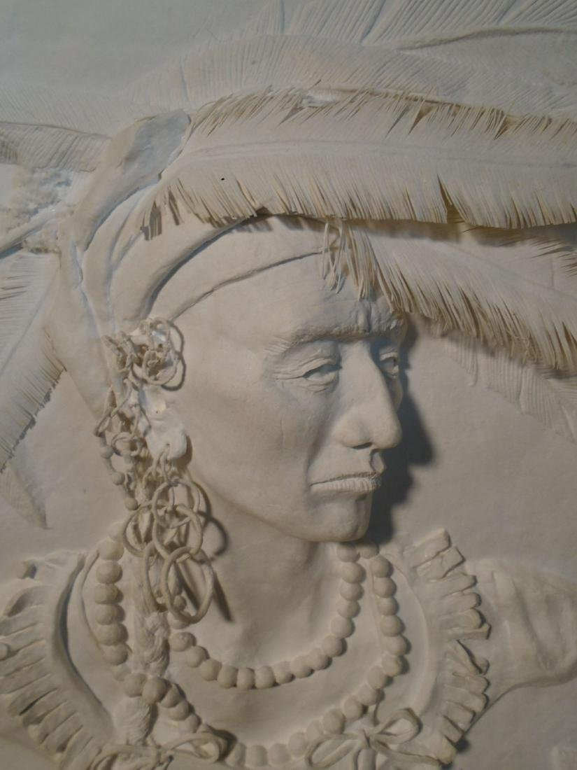 Cherokee Bust of a male Indian Molded paper wall relief - 2