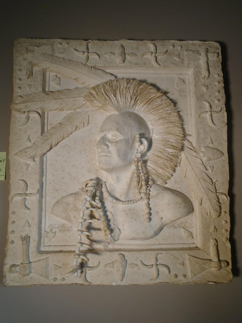 Mohawk Warrior Bust of a male Indian Cast Paper Wall
